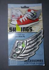 Awesome pair of Shwings - Wings for your shoes! Silver/neon green - NEW!