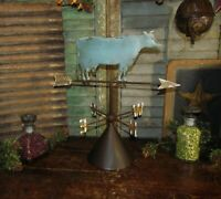 Primitive Antique Vtg Style Country Farm Metal Dairy Cow Tin Weather Vane