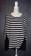 LANE BRYANT Black & White Striped Tunic Shirt Blouse Eyelet Lace Back 18/20