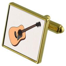 Chitarra Acustica Gold-Tone Gemelli di cristallo fermacravatta Set Regalo