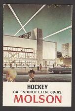 1968-69  MOLSON  HOCKEY SCHEDULE   NRMT++   UNMARKED  INV A2355