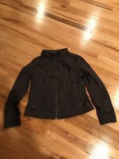 Ladies Express Brown Long Sleeve Zip Front Jacket Size Large