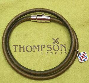 Thompson of London Mens Green Leather Bracelet 40cm Magnetic Twist Lock NWOT