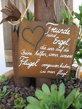 """Spruchtafel - Edel-Rost -Tafel - Garten - Schild - """"Freunde sind Engel .."""" (33)"""