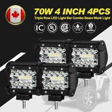 4Pcs 4 Inch 70W LED Work Light Triple Row Spot Flood Beam Offroad Driving Lights