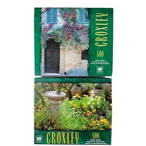 NEW 500 piece Puzzles Set of 2 Flower Garden Sundial Pansy Poppy Europe Ivy Door