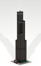 CUSTOM LEGO BUILDING Willis Tower (Sears T) Chicago.Skyscraper SIZE:39 inches!!!