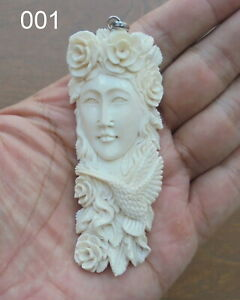 Goddess Carved Bone Pendant in Buffalo Bone with Sterling Silver Bale 02160121
