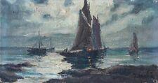 Tableau Peinture Ancienne Huile sur Toile - Marine, Bateau, Mer, Clair de Lune