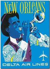 Retro Travel Poster *FRAMED* CANVAS PRINT ~ New Orleans Delta Air 24x16""