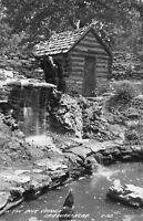 Fairbury Nebraska~Cabin & Waterfall in Rock Garden~Miniature Mill~1940s RPPC