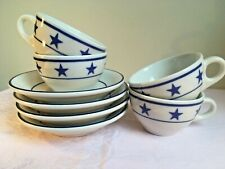 4 Cups & Saucers Sterling China Restaurant Ware Navy Blue Stars