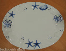 "Italian Este Ceramics Starbucks Blue & White Starfish Seashell 13"" Oval Platter"