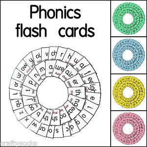 45 laminated phonics sound flash cards for school or home educational aid teach