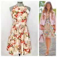 •FERVOUR• ModCloth Rose Floral Diamond Sleeveless Fit & Flare Dress Sz S