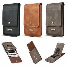 Universal Cowskin Leather Wallet Protective Case Waist Bag For Mobile Cell Phone