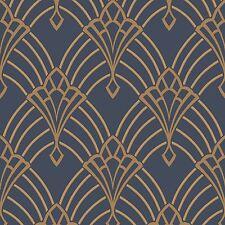 Astoria ART DECO papier peint bleu foncé/or-Rasch 305340