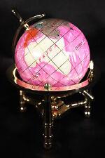 Genuine Multi-Gemstone Desktop Globe Gold Tone Base Rose Red Globe Free S&H