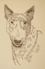 Bull Terrier Dog Art Portrait Print #58 Kline adds dogs name free. Word Drawing