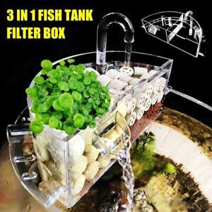3-in-1 Aquarium Fish Tank Filter Box Acrylic External Hanging Water Purifier