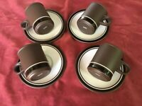 Retro Hornsea Pottery Contrast 4 x Small Espresso / Coffee Cups and Saucers Set1