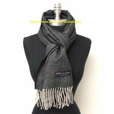 Men's 100% CASHMERE Scarf Black / Gray Herring Bone Tweed Design Soft Wrap Wool