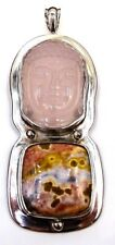 Pink Quartz Buddha head and Jasper Pendant set in Sterling Silver Stamped 925