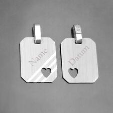1 Partner Gravur Ident Platte Name Datum Anhänger Herz mit Kette Echt Silber 925