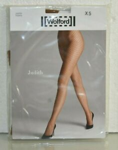 New WOLFORD SEXY JUDITH Fishnet Tights Pantyhose Honey XS