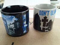 2 BBC Dr Doctor Who Mug DISAPPEARING TARDIS Coffee Tea Cups WEEPING ANGEL SET