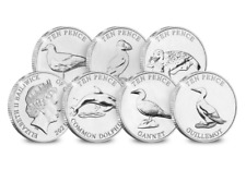 NEW !!!!!SECOND SET OF 6  COINS 10 PENCE 2021 GUERNSEY COASTAL WIDLIFE PRE ORDER