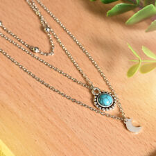 Women Summer Boho Multilayer Choker Necklace Turquoise Moon Chain Silver Jewelry