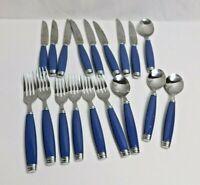 A3- Pflatzgraff Stainless Flatware Tabletones Blue 18pc lot