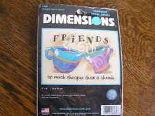 """2004 Dimensions Cross Stitch Kit #6980 FRIENDS CHEAPER THAN SHRINK 7""""x5""""~~NIP!"""
