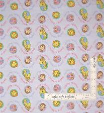 "Precious Moments Fabric - Nursery Baby Girl Animals Words Light Purple - 30"""