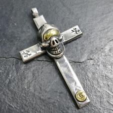 42G Heavy Large Solid 925 Sterling Silver Men's Biker Skull Cross Pendant
