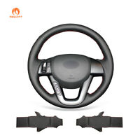 MEWANT DIY Black Leather Steering Wheel Cover Wrap for Kia K5 Optima 2011-2013