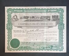 1929 Washington Campbell's Fruit Cereal Company Stock Certificate