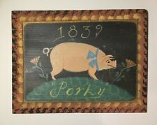 "Wendy Presseisen Signed Folk Art Pig Painting on Wood - ""Porky 1839"""