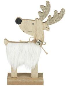 White Fur Wooden Reindeer Christmas Decoration