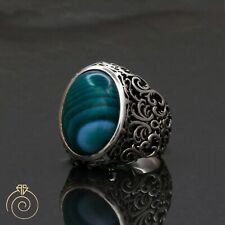 Aqeeq Mens Ring Vintage Cabochon Green Agate Sword Carved Jewelry Anniversary