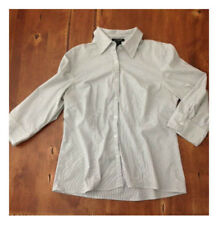 Womens Autograph Large White Gray Pinstriped Button Down Blouse L Stretch
