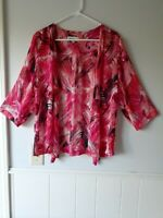 Southern Lady Tunic Open Top Kimono Blouse Sheer Cardigan Sz Large NEW