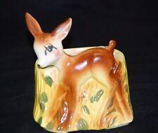 Old Vintage Art Pottery Baby Fawn Deer Bambi Planter Home Garden Tool Decor