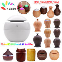 USB Humidifier Aromatherapy Wood Grain 7 Color LED Light Essential Oils Diffuser