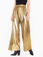 american apparel metallic gold wide leg pants culottes
