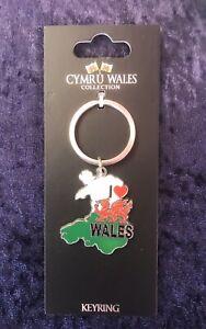 Wales Map Metal I Love Wales  Keyring