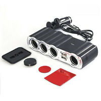 New 4Way Socket & Dual Usb Ports Cigarette Lighter & Car Charger Car Accessories