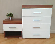 Chest of 4 Drawers & 1 Drawer Bedside Table in White & Walnut Bedroom Furniture