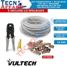 Kit Pinza Crimpatrice + Matassa Lan Cavo Ethernet 100 metri + Plug RJ45 Vultech